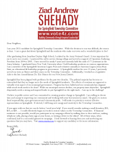 Shehady for Township Committee Announcement Letter
