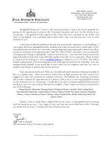 Ziad Andrew Shehady Election Victory Letter