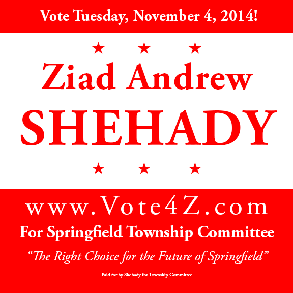 Vote for Ziad Andrew Shehady for Springfield Township Committee
