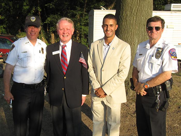 OEM Coordinator John Cottage, Congressman Leonard Lance, Mayor Ziad Andrew Shehady, OEM Deputy Coordinator Scott Seidel