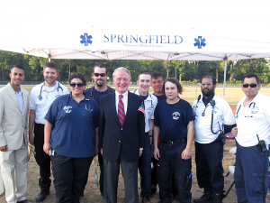 Mayor Ziad Andrew Shehady and Congressman Leonard Lance thank the Springfield First Aid Squad volunteers